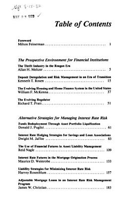 Managing Interest Rate Risk in the Thrift Industry PDF