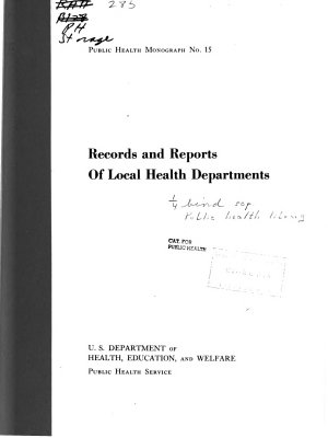 Records and Reports of Local Health Departments