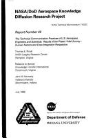 NASA DoD aerospace knowledge diffusion research project  Report number 40  The technical communication practices of U S  aerospace engineers and scientists results of the phase 1 mail survey  human factors and crew integration perspective PDF