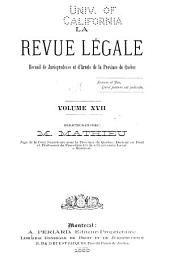 La Revue legale: Volume 17