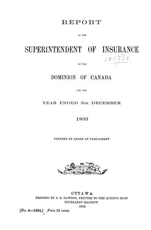 Report of the Superintendent of Insurance of the Dominion of Canada PDF