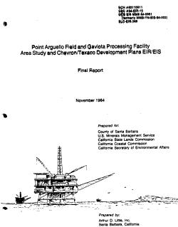 Point Arguello Field and Gaviota Processing Facility Area Study and Chevron Texaco Development Plans EIR EIS PDF