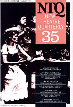New Theatre Quarterly 35  Volume 9  Part 3 PDF