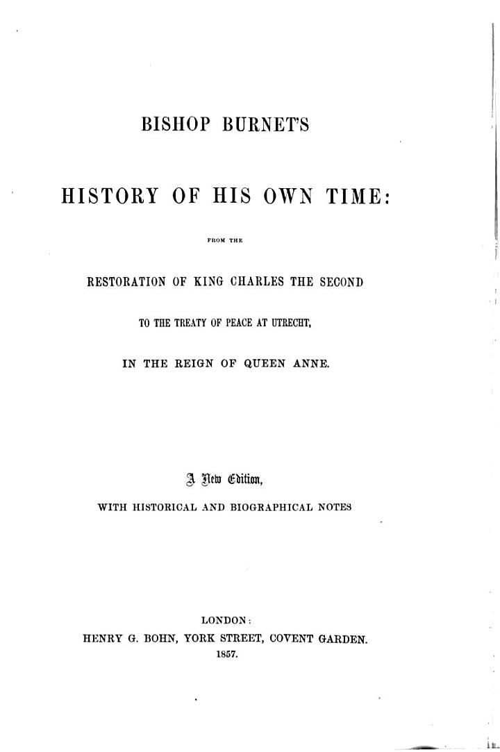 History of His Own Time