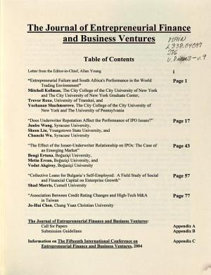 The Journal of Entrepreneurial Finance   Business Ventures PDF
