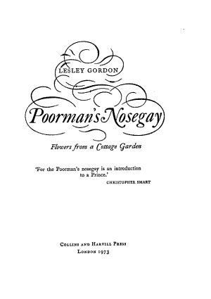 Poorman s Nosegay  Flowers from a Cottage Garden PDF