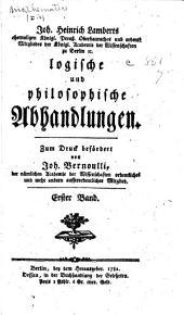 Logische und philosophische abhandlungen: Band 1