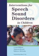 Interventions For Speech Sound Disorders In Children Book PDF