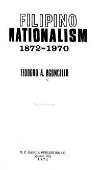 Filipino Nationalism  1872 1970 PDF
