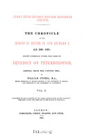 Gesta regis Henrici Secundi Benedicti Abbatis   The Chronicles Of The Reigns Of Henry II  And Richard I  A  D  1169   1192     PDF
