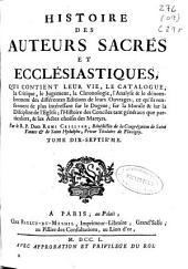 Histoire des auteurs sacrés et ecclésiastiques ...