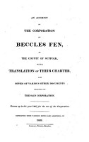 An account of the corporation of Beccles Fen  with a tr  of their charter  Repr  with notes and additions PDF