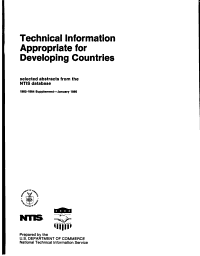 Technical Information Appropriate for Developing Countries PDF