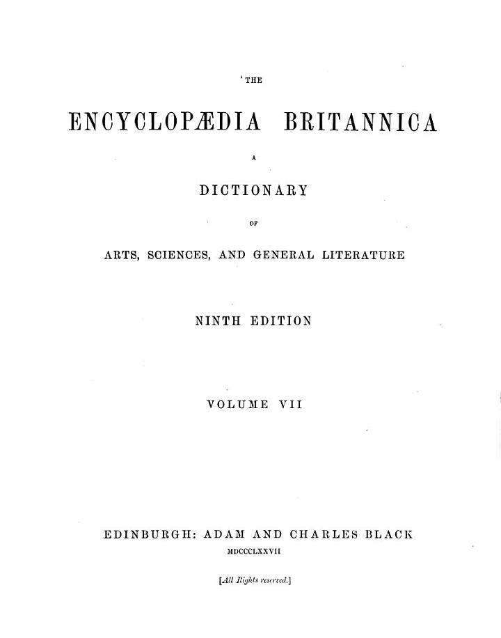 ¬The Encyclopaedia Britannica a Dictionary of Arts, Sciences, and General Litterature