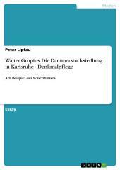 Walter Gropius: Die Dammerstocksiedlung in Karlsruhe - Denkmalpflege: Am Beispiel des Waschhauses