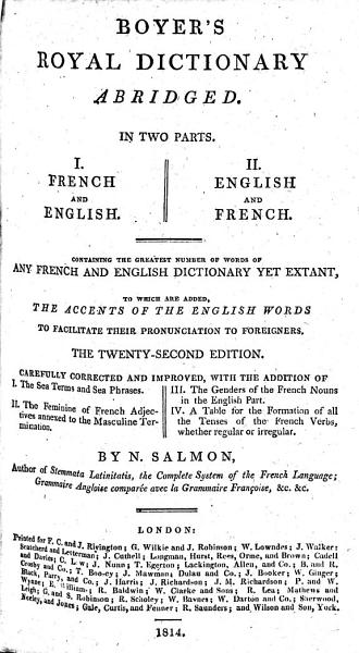 Download Boyer s Royal dictionary abridged     The twenty second edition  Carefully corrected and improved     By N  Salmon Book