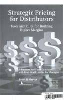 Strategic Pricing for Distributors  Tools and Rules for Building Higher Margins PDF