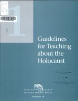 Guidelines for Teaching about the Holocaust PDF