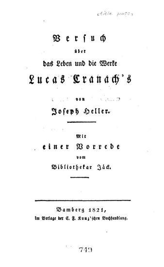 Versuch   ber das Leben und die Werke Lucas Cranach s PDF