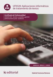 Aplicaciones informáticas de tratamiento de textos. ADGD0108