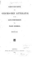 Geschichte der griechischen Literatur in der Alexandrinerzeit PDF