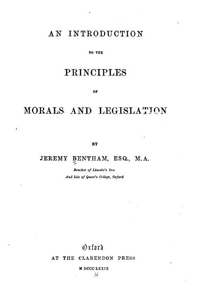 The Principles of Morals and Legislation PDF