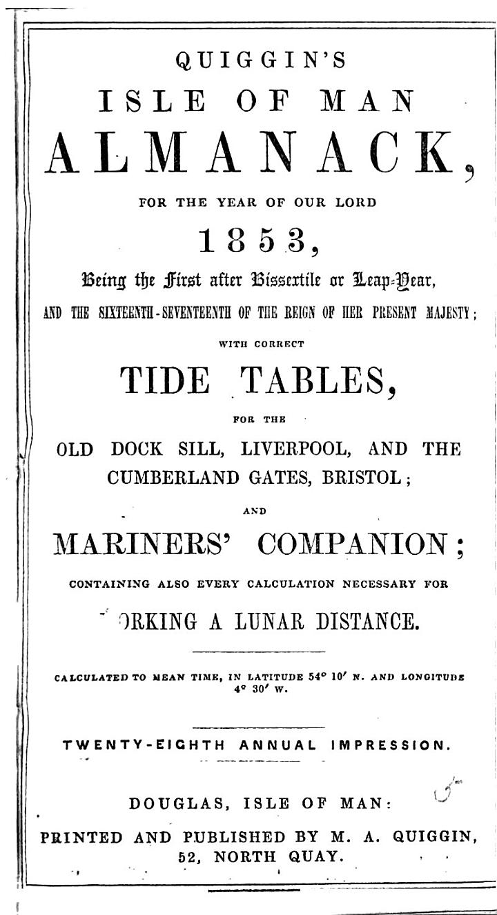 Quiggin's Isle of Man almanack