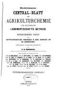 Biedermanns Zentralblatt f  r Agrikulturchemie und rationellen Landwirtschafts Betrieb PDF