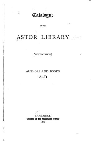 Catalogue of the Astor Library  continuation  PDF