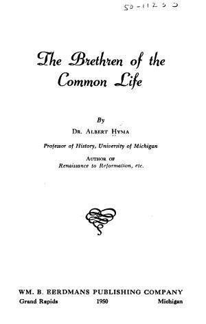 The Brethren Of The Common Life