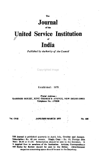 Journal of the United Service Institution of India PDF