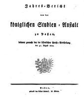 Jahresbericht über die Königl. Studienanstalt in Passau: Für das Studienjahr...