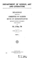 Dept  of Science  Art and Literature  Hearings    on H J  Res  79  Feb  7 11  June 4 27  1935 PDF