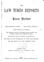The Law Times Reports of Cases Decided in the House of Lords, the Privy Council, the Court of Appeal ... [new Series]: Volume 72