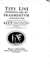 Titi Livii Historiarum libri XCI fragmentum anekdoton