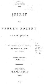 The Spirit of Hebrew Poetry: Volume 1