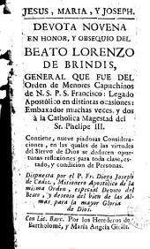Devota novena en honor y obsequio del beato Lorenzo de Brindis, general que fue del orden de menores capuchinos de N.S.P.S. Francisco ...