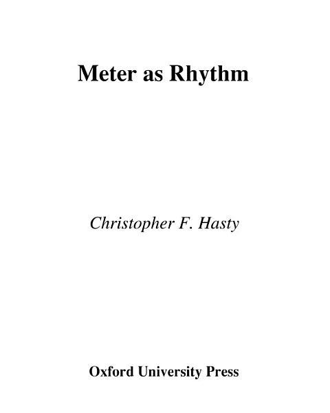 Meter As Rhythm