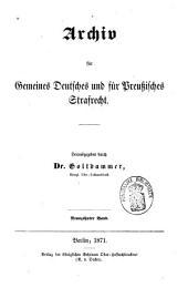 Archiv für preußisches Strafrecht: Band 19