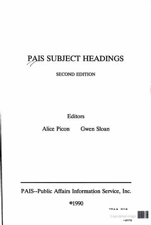 PAIS Subject Headings PDF