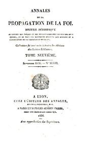 Annales de la propagation de la foi: Volume9