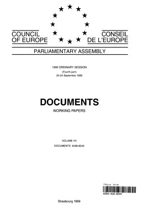 Parliamentary Assembly Documents 1999 Ordinary Session  fourth part  September 1999   Volume VII PDF