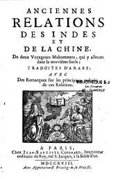 Anciennes relations des Indes et de la Chine de deux voyageurs mahométans, qui y allèrent dans le neuvième siècle