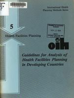 Guidelines for analysis of health facilities planning PDF