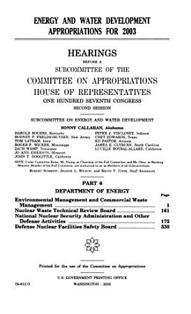 Energy and Water Development Appropriations for 2003  Department of Energy PDF