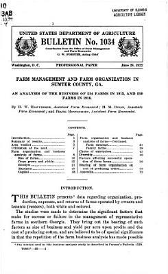 Farm Management and Farm Organization in Sumter County  Ga