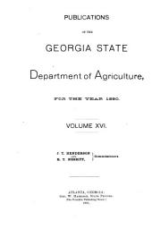 Publications of the Georgia State Department of Agriculture: Volume 16