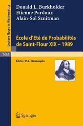 Ecole d'Ete de Probabilites de Saint-Flour XIX - 1989