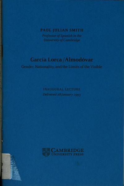 Garcia Lorca Almodovar  Gender  Nationality  and the Limits of the Visible
