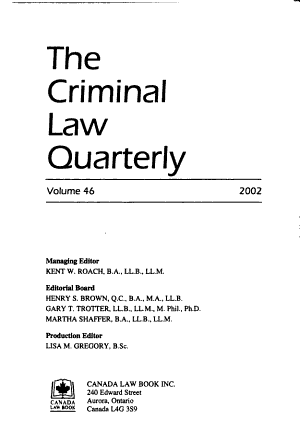The Criminal Law Quarterly